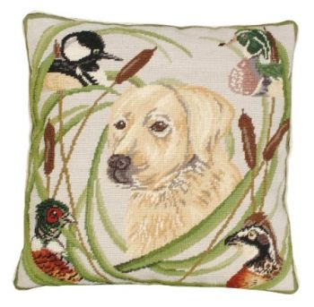 Sporting Black Lab Needlepoint Pillow by Michaelian Home