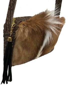 Springbok and Cape Buffalo Hide Crossbody Purse - side