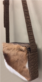 Springbok & Cape Buffalo Hide Crossbody Purse - Side