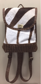 Springbok & Cape Buffalo Hide Mini Backpack - Front
