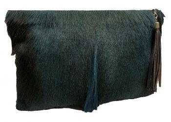 Springbok & Leather Folio Clutch - Denim Blue - Mohawk Design