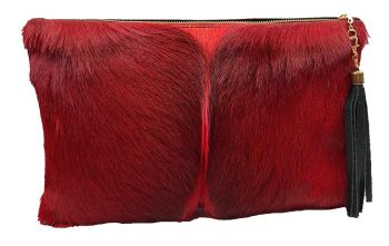 Springbok & Leather Folio Clutch Purse - Pink
