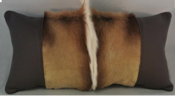 Springbok Skin & Leather Pillow - Front