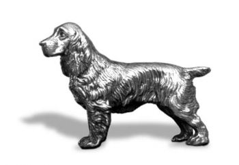 Springer Spaniel - Large - Hood Ornament or Car Mascot by Louis Lejeune comes in chrome, bronze, enamel or gold plated