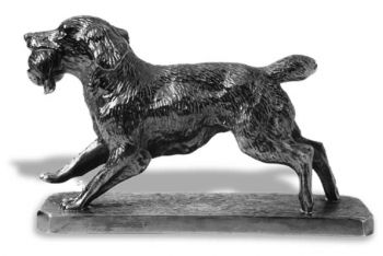 Springer Spaniel Running with Bird Hood Ornament or Car Mascot by Louis Lejeune comes in chrome, bronze, enamel or gold plated