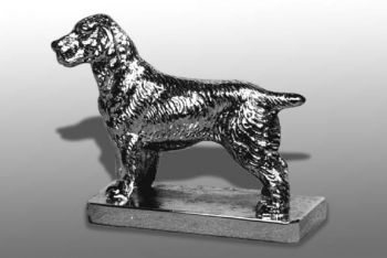 Springer Spaniel - Small - Hood Ornament or Car Mascot by Louis Lejeune comes in chrome, bronze, enamel or gold plated