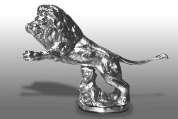 Lion Springing Hood Ornament or Car Mascot by Louis Lejeune comes in chrome, bronze, enamel or gold plated