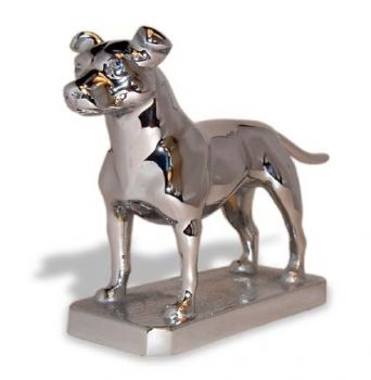 Staffordshire Bull Terrier Hood Ornament or Car Mascot by Louis Lejeune comes in chrome, bronze, enamel or gold plated