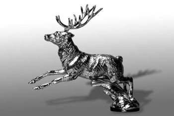 Stag Running Hood Ornament or Car Mascot by Louis Lejeune comes in chrome, bronze, enamel or gold plated