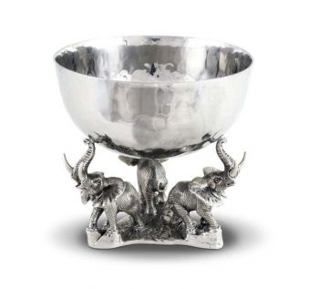 Stainless Nut bowl with elephant base by Vagabond House