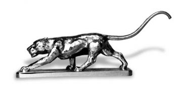 Panther Stalking Hood Ornament or Car Mascot by Louis Lejeune comes in chrome, bronze, enamel or gold plated