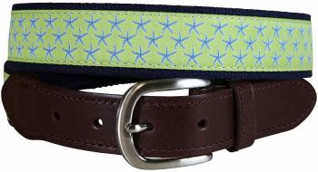 Starfish Lime Green Leather Tab Belt by Belted Cow