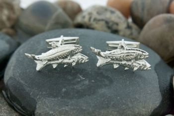 Sterling Silver Double Rainbow Trout Cufflinks by Tight Lines Jewelry