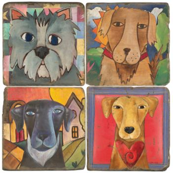 Sticks Dogs Italian Marble Coasters