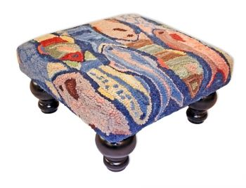 Swimming Fish Hooked Wool Stool by Michaelian Home