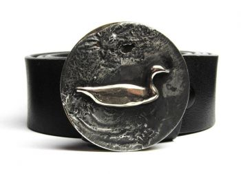 Swimming Duck Hand Cut Buckle and Belt by Tyger Forge