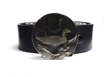 Flying Goose Hand Cut Buckle and Belt by Tyger Forge