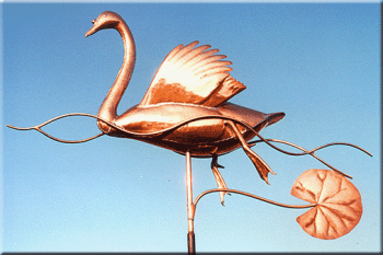 Swimming Swan Copper Weathervane by Barry Norling