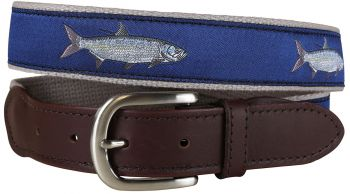 Tarpon Blue Leather Tab Belt by Belted Cow