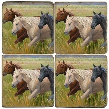 Breakfast Club - Equine Italian Marble Coaster by Studio Vertu