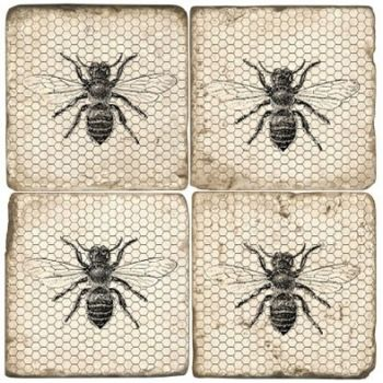 Black & White Bees Italian Marble Coaster (Each or Set of 4) Studio Vertu