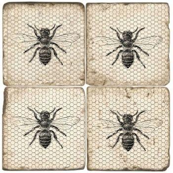 Black & White Bees Italian Marble Coaster (Each or Set of 4) Studio Vertu