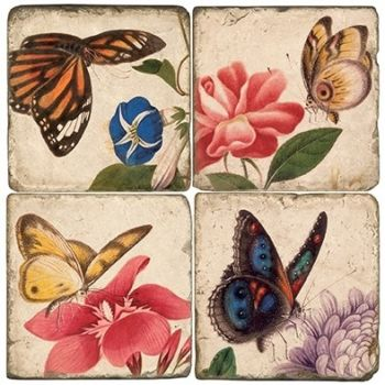 Butterflies II Italian Marble Coaster (Each or Set of 4) Studio Vertu
