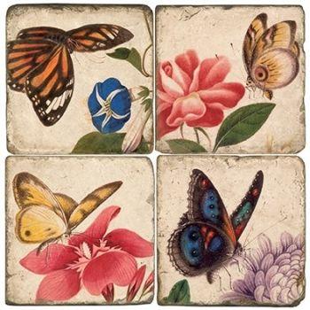 Butterflies II Italian Marble Coaster (Each or Set of 4) Studio Vertu
