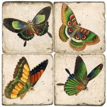 Butterflies IV Italian Marble Coaster (Each or Set of 4) Studio Vertu