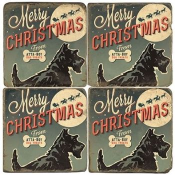 Christmas Treats for Dogs Italian Marble Coaster (Each or Set of 4) Studio Vertu