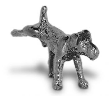 Terrier Cocking Leg Hood Ornament or Car Mascot by Louis Lejeune comes in chrome, bronze, enamel or gold plated