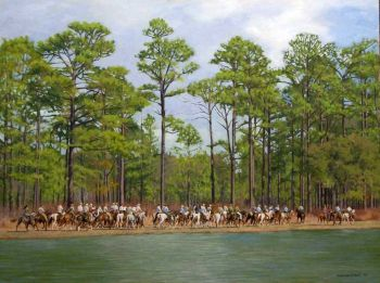 The Gallery is an original oil painting of field trial horses and riders by Chris Chantland