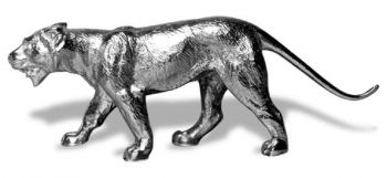 Tiger Walking Hood Ornament or Car Mascot by Louis Lejeune comes in chrome, bronze, enamel or gold plated