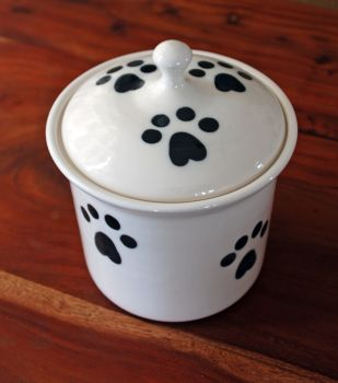 Classic Pawprint treat canister by Petware pottery