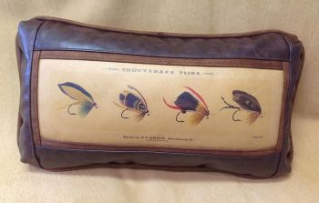 Trout and Bass Flies Leather Pillow