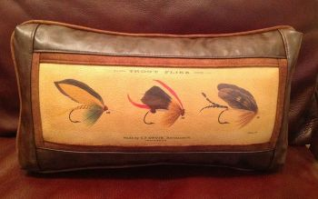 Trout Flies Leather Pillow