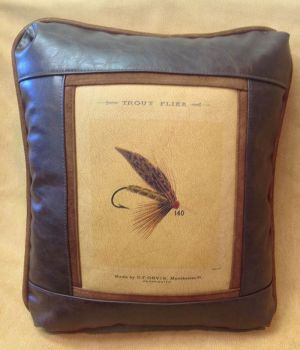 Trout Fly Leather Pillow