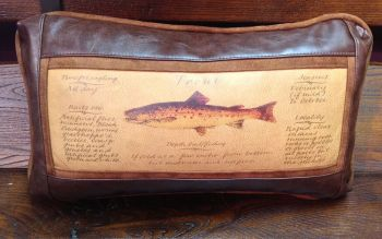 Trout Guide Kidney Leather Pillow