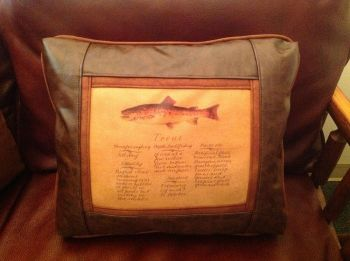 Trout Guide Leather Pillow