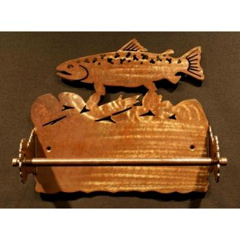 Trout rustic metal paper towel holder by Steel Appeal
