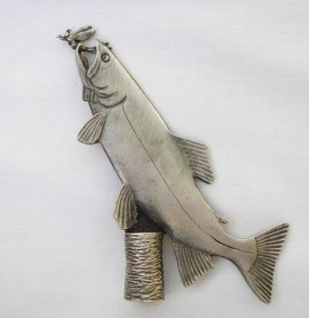 Trout with Mayfly pewter lamp finial by Sid Bell Originals