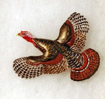 Turkey Hand-Carved Wood Pin by Dick Cook