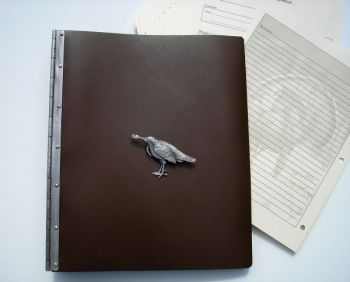 Turkey Hunter Leather Journal with Turkey Gobbling design by Royden Leather