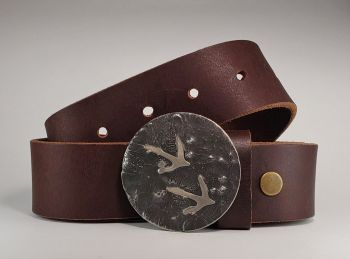 Quail Hand Cut Buckle and Belt by Tyger Forge