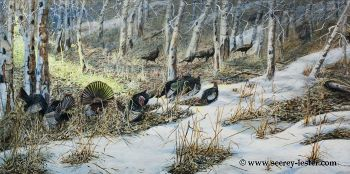 Entering the Strut Zone is the name of this original acrylic painting of turkeys by Suzie Seerey-Lester