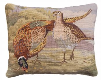 Pheasants in the Field Needlepoint pillow by Michaelian Home