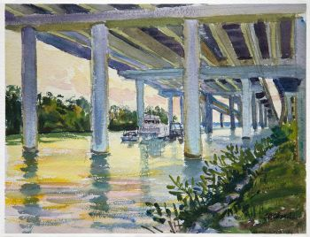 Under Jew Fish Channel Bridge 1 is an original fishing scene watercolor by CD Clarke