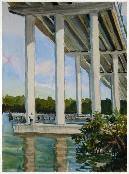 Under Jew Fish Channel Bridge 2 is an original watercolor by CD Clarke