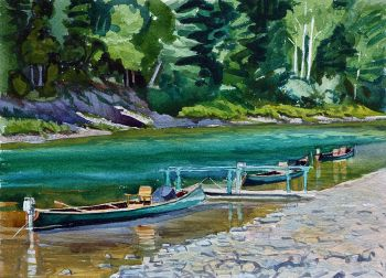 Upsalquitch Canoes is the title of an original watercolor painting of canoes on the Upsalquitch River by CD Clarke