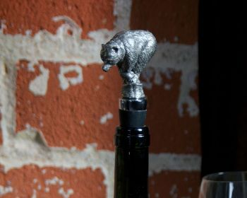 Pewter Bear Bottle Stopper by Vagabond House